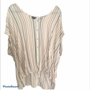 Torrid striped button up shirt with front tie